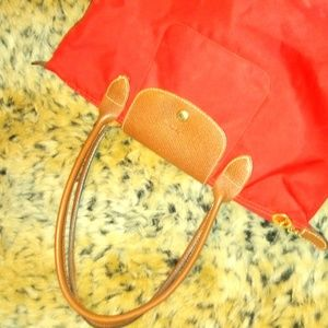 Red Longchamp simple small leather bag